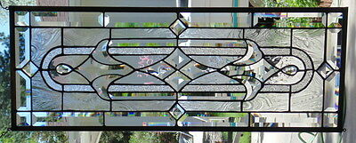 """Stained Glass window Transom or Sidelight hanging 32 X 12"""""""