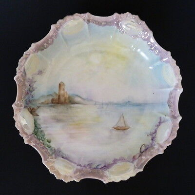 Limoges Hand Painted Sea and Shore Serving Bowl France Antique