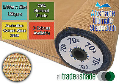 70% Shade Cloth 1.83M x 30M ROLL, Shadecloth/mesh in Green/S/stone or Black