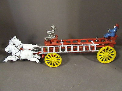 Vintage Cast Iron Horse Drawn Fire Ladder Truck With Spoke Wheels