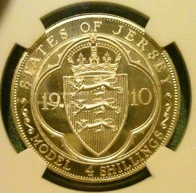 ☆RARE☆ 1910 States of Jersey 4 Shillings Silver & Copper Proofs NGC CERTIFIED