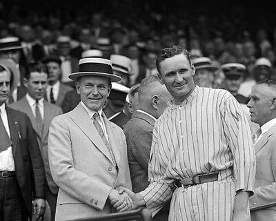 Washington Senators WALTER JOHNSON Shaking Hands w/ Calvin Coolidge 8x10 Photo