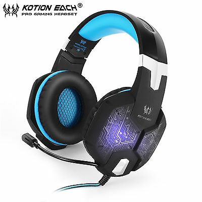 EACH Pro Gaming Headset Headband LED Luminous 3.5mm  Headphones w Mic For PC