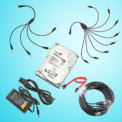 10/20/30/50m BNC CCTV Cable,Power Supply,1/2TB Hard Drive HDD for DVR System
