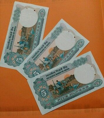 3 Notes - TRACTOR - 5 Rupee India Bank Notes - UNC #us - FREEE SHIPPING