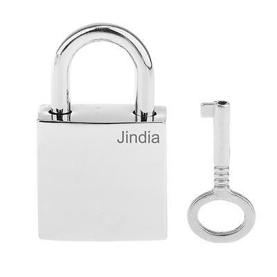 1 X Mini Luggage Suitcase Shed Door Cupboard Square Lock Padlock&Keys Silver