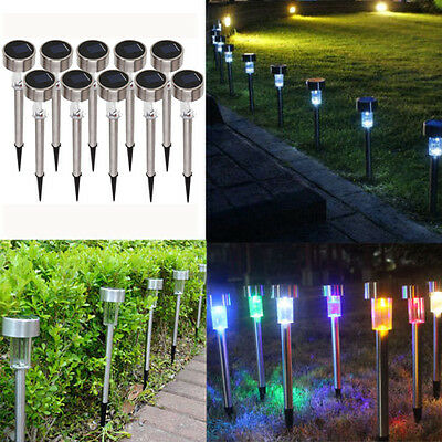 10X Outdoor Garden Stainless Steel LED Solar Landscape Path LED Lights Yard Lamp