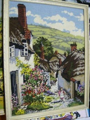 Village Street Finished Needlepoint Picture 11.5x15.5 Inches