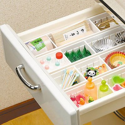 Plastic Cutlery Fork Spoon Storage Box Drawer Organiser 2/3 Compartments