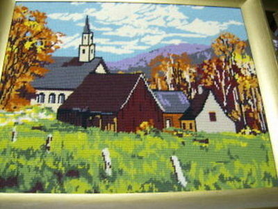 """Autumn Village Finished Needlepoint Picture 15.5x 19.5"""", Church"""
