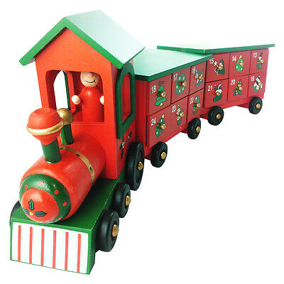 Wooden Advent Calendar Train - Traditional Christmas / Xmas Countdown Decoration