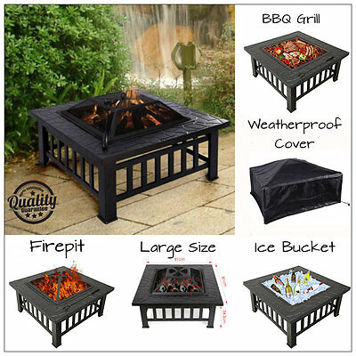 Large Outdoor Garden Fire Pit Log Burner Square Table Patio Heater + Free Cover