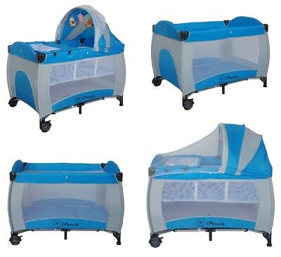 New All in 1 Deluxe Baby Portable Travel Cot Playpen Crib Bed Bassinet -- Blue