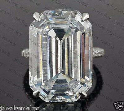 925 Sterling Silver Celebrity insp 25ct Solitaire big Emerald Cut Studded shank