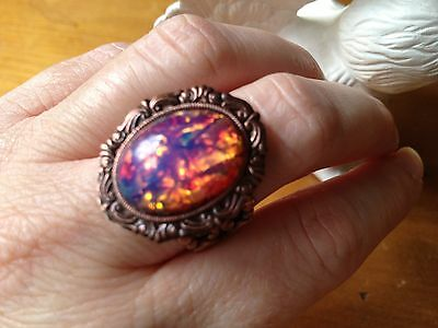 Pink Fire Opal Statement Ring Copper one of a kind stone SALE low Shipping