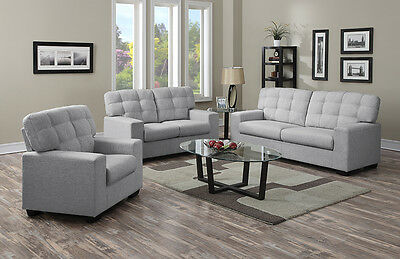 Modern Sofa And Chairs Grey Or Taupe Fabric New 3 Seater 2 Seater 1 Seater