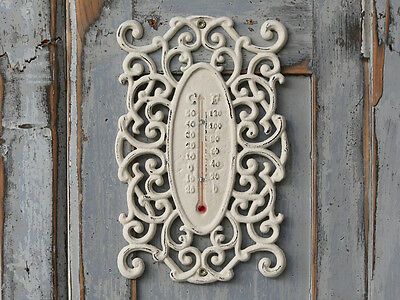Wall Thermometer Indoor Outdoor Garden Greenhouse Home Office French Chic White