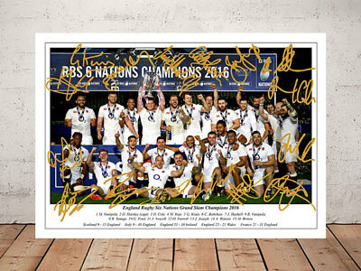 England Rugby Six Nations Grand Slam 2016 Team Autographed Signed Photo Print