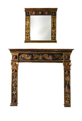 One of a kind ! Spanish Colonial Late 17th Century fireplace mantel and mirror