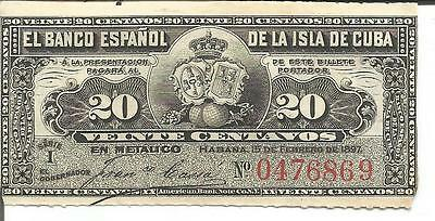 Spain Colonial 20 Centavos 1897.  Xf Condition. Original. 4Rw 20Jun