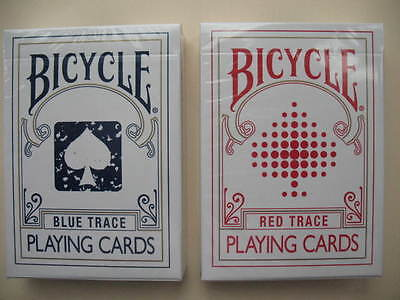 Lot 2 New Rare Trace Decks 1 BLUE,1 RED Bicycle Playing Cards