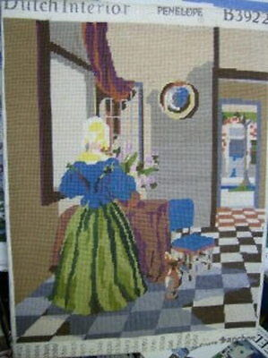 Dutch Interior Finished Needlepoint Picture 21.5 x 17 Inches