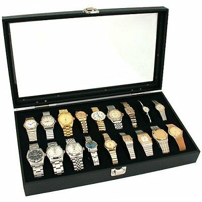New 18 Watch Display Case Black Glass Top Display Showcase