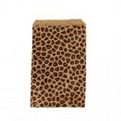 900 Kraft  Leopard Print Design Jewelry Paper Shopping Gift Bag 4x6