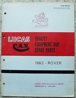 LUCAS ROVER Spare Parts List 1963 #905/63 3 LITRE Saloon/Coupe 95 110 LANDROVER