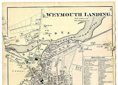 1876 Weymouth Landing Map from Comstock & Cline atlas, with family names