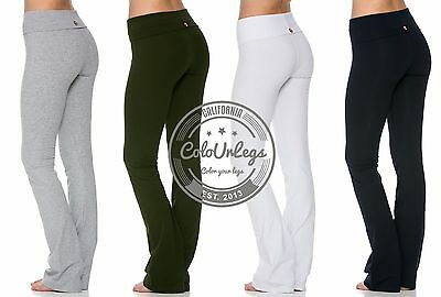 Womens Fitness Flare Leg Long Foldover Pants Athletic YOGA Workout Gym T-Party