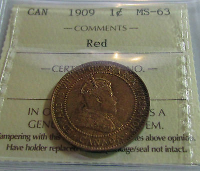 Canada   Large Cent  1909  ICCS MS 63 Red  Edward VII Certified