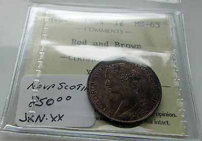 Nova Scotia 1864 1 Cent ICCS MS 63 Red & Brown Double Punched Variety