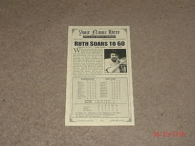 Babe Ruth(Ruth Soars To 60)Advertising Card