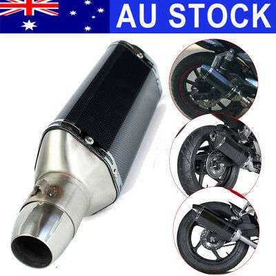 AU Motorcycle Carbon Exhaust System Pipe Street Sport Bike Muffler Silencer 51mm