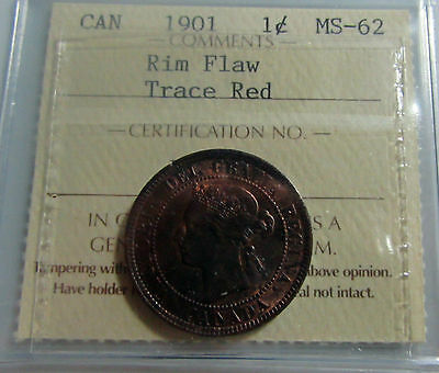 Canada 1901 Large Cent ICCS MS 62 Trace Red  Mint Error  Cracked Planchet