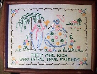 "Vtg  Finished CROSS STITCH  Sampler LINEN Framed  ""TRUE FRIENDS"" Sunbonnet BELLE"