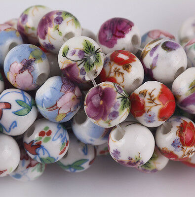 20Pcs Round Flower Rose Ceramic Porcelain Findings Charm Loose Spacer Beads 10mm