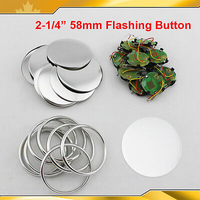"2-1/4"" 58mm Flashing Light Badge Button Parts FOR BUTTON MAKER 100SETS HOT"