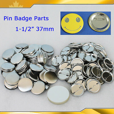 "1-1/2"" 37mm 100sets metal Pin Badge  Button Parts Supplies for Maker Machine"