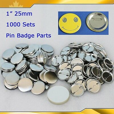 "1,000sets 1"" 25mm  Pin Badge Button Parts Supplies for Maker Machine Metal DIY"
