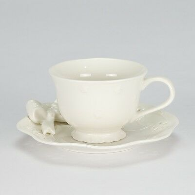NEW Set of 4 Tea Cup saucer Cream Gold shabby chic cream Porcelain vintage