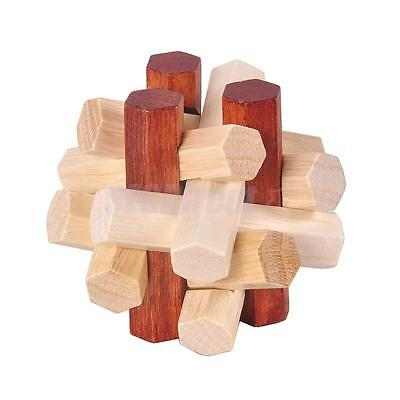 Chinese Wooden Intelligent IQ Puzzle Lock Children Educational Toy Jigsaw #1