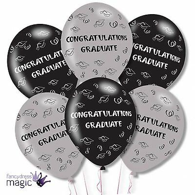 "6 Pack 11"" Congratulations Graduate Graduation Latex Party Celebration Balloons"