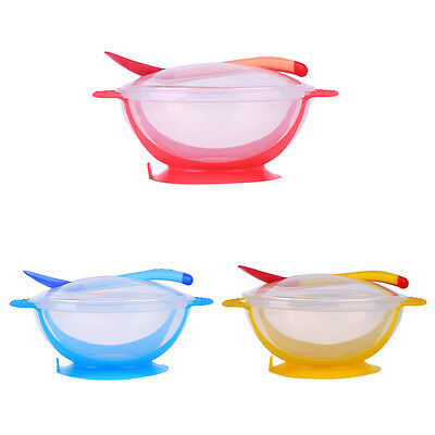 3PC Toddler Baby Feeding Bowl Suction Base Temperature Colour Changing Spoon Set