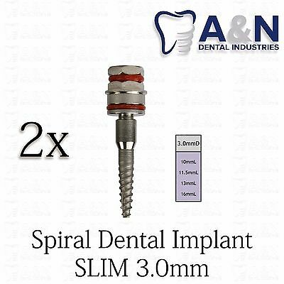 2 Slim SPIRAL Dental Implant Internal Hex Sterilized 3.0mm Titanium lot