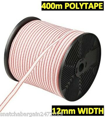 400m Polytape Roll Electric Fence Energiser Poly Tape Stainless Steel Insulator