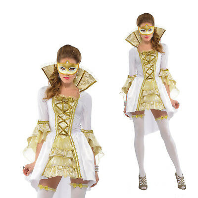Adults Venezia Ladies Masquerade Renaissance Venice Fancy Dress Mask & Costume