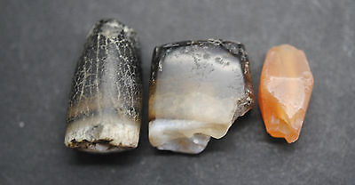 Three Ancient Egyptian Carnelian Carved And Polished Beads, Middle Kingdom. • CAD $19.62