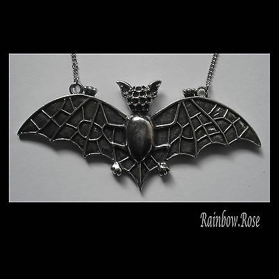 Pewter Necklace on Chain #1129 LARGE FLYING BAT (93mm x 42mm)